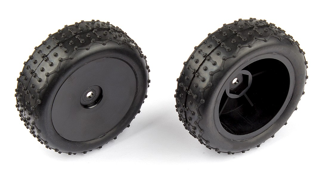 Team Associated Rear Wide Mini Pin Tires, mounted (Reflex)