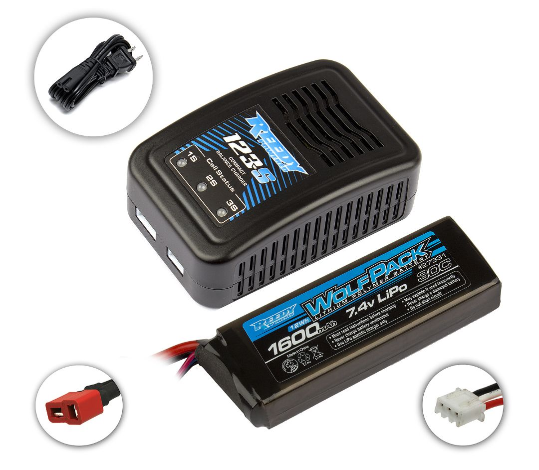 Reedy 123-S Compact Balance Charger/Wolfpack 1600mAh 2S LiPo
