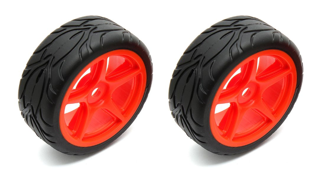 Team Associated 5-spoke Wheels/Tires mounted, orange