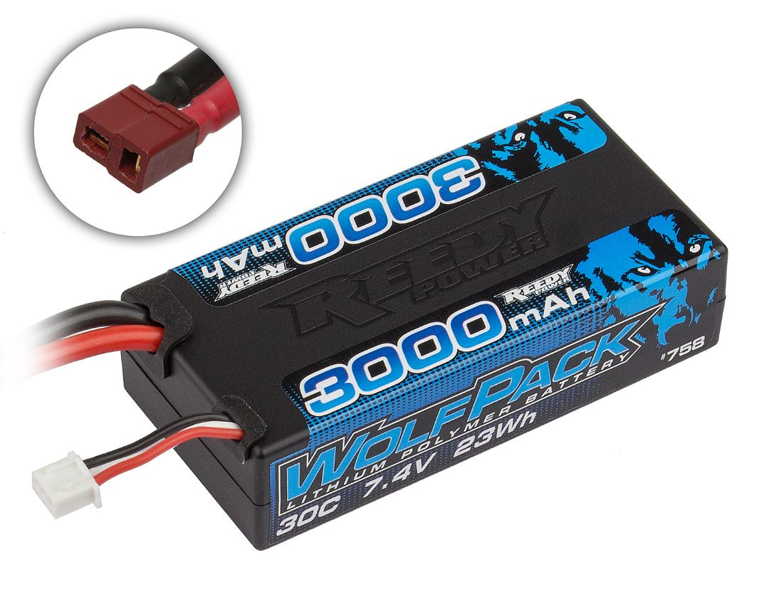 Reedy Wolfpack LiPo 3000mAh 30C 7.4V Shorty, with T-plug