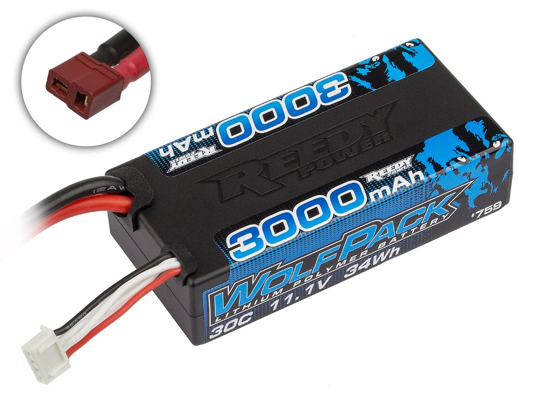 Reedy Wolfpack LiPo 3000mAh 30C 11.1V Shorty, with T-plug