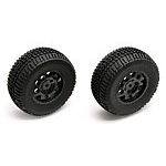 Team Associated SC10 Rear Wheels/Tires, mounted, black (non-hex)