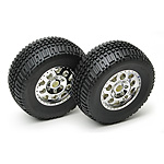 Team Associated SC10 Tires/Wheels Combo, chrome wheels, non-hex