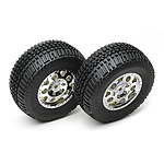Team Associated SC10 Tire/Wheel Combo chrome wheels rear non-hex