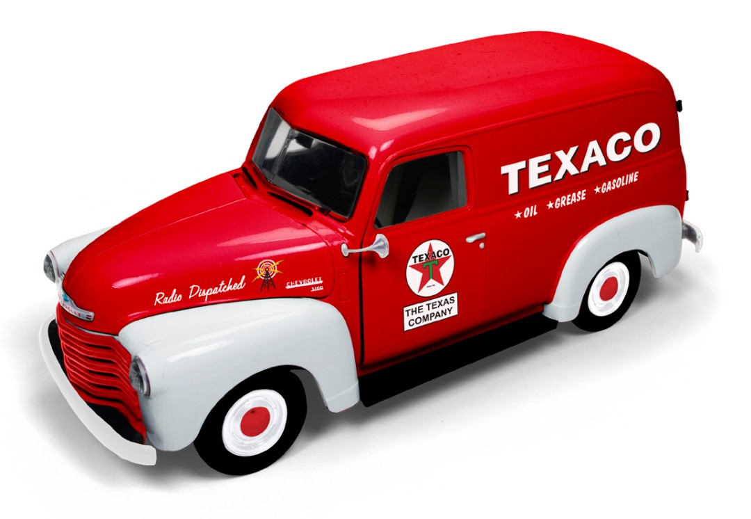 Auto World 1/18 1948 Chevy Panel Delivery (Texaco) - Red w/White
