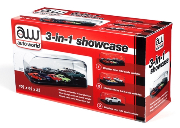 Auto World 1/24 3 in 1 Display Case (Interchangeable Inserts)