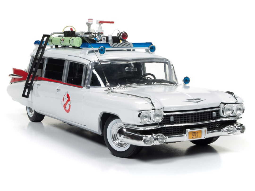 Auto World 1/18 1959 Cadillac Ambulance White w/ Ghostbusters Gr