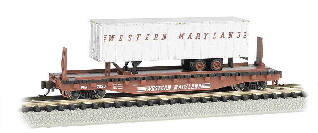 Bachmann Western Maryland 52ft flat car w/ WM 35ft Trailer (N Sc