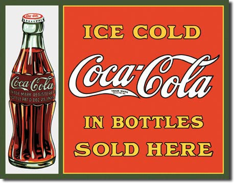 Coca-Cola Ice Cold in Bottles Sold here - Rectangular Tin Sign