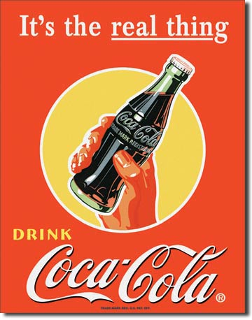It's the Real Thing Drink Coca-Cola - Rectangular Tin Sign