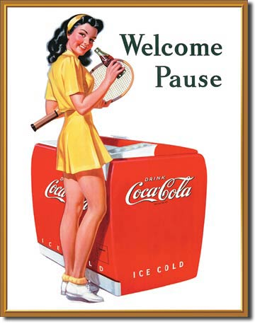 Welcome Pause Drink Coca-Cola - Rectangular Tin Sign