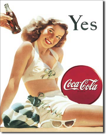 Coca-Cola White Bathing Suit - Rectangular Tin Sign