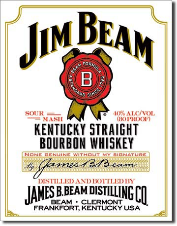 Jim Beam Kentucky Straight Bourbon Whiskey - Rectangular Tin Sin