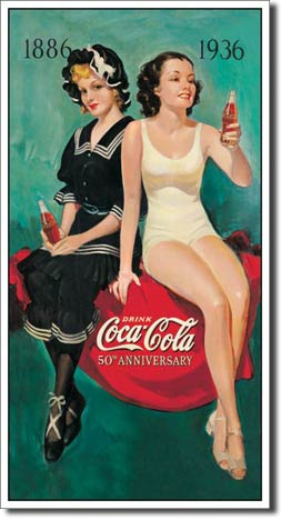1886-1936 Drink Coca-Cola 50th Anniversary - Rectangular Tin Sig