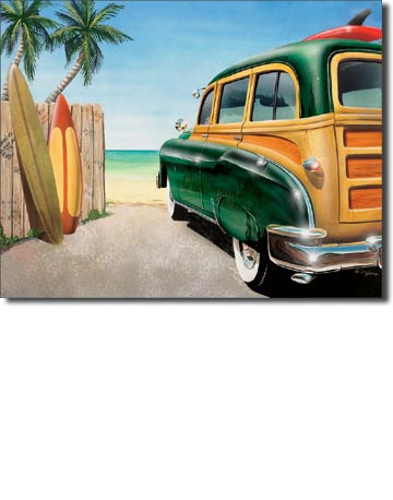 Retro Beach Woody - Rectangular Tin Sign