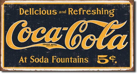 Delicious and Refreshing Coca-Cola - Rectangular Tin Sign