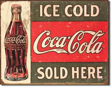 Ice Cold Coca-Cola Sold Here - Rectangular Tin Sign