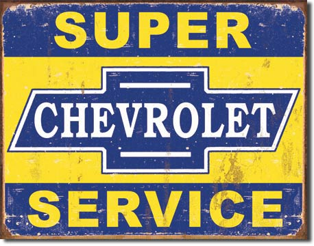 Super Chevrolet Service - Rectangular Tin Sign