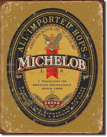 Michelob All Imported Hops - Rectangular Tin Sign