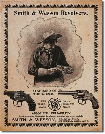 Smith & Wesson Revolvers - Rectangular Tin Sign