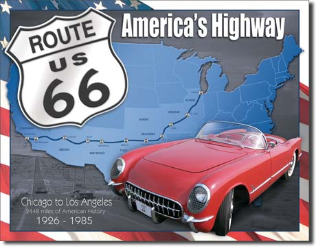 Route 66 America's Highway - Rectangular Tin Sign