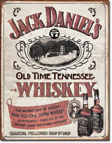 Jack Daniels, Old Time Tennessee Whiskey - Rectangular Tin Sign