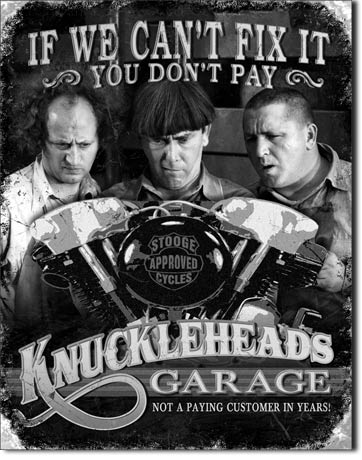 Stooge Knuckleheads Garage - Rectangular Tin Sign