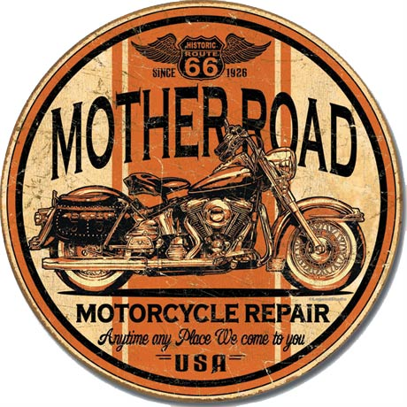 Mother Road Motorcycle Repair - Round Tin Sign