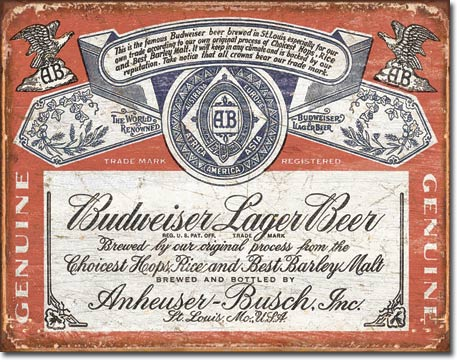 Budweiser Lager Beer Weathered - Rectangular Tin Sign