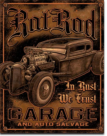 Rat Rod Garage and Auto Salvage - Rectangular Tin Sign