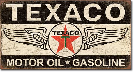 Texaco Motor Oil Gasoline - Rectangular Tin Sign