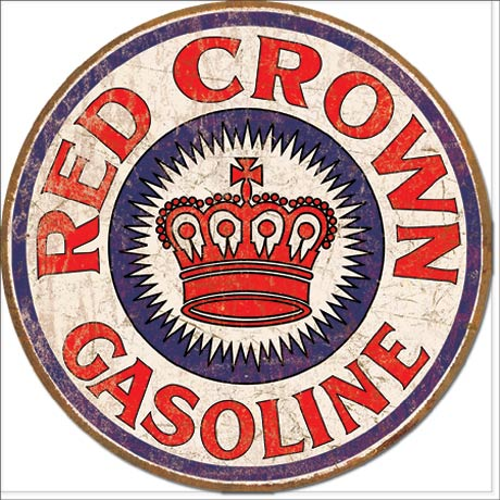Red Crown Gasoline - Round Tin Sign