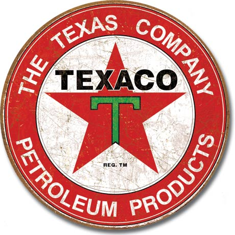 The Texas Company Petroleum Products, Texaco - Round Tin Sign