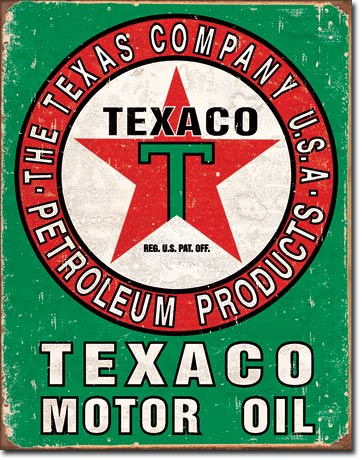 Texaco Motor Oil - Rectangular Tin Sign