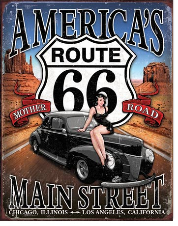 America's Mother Road, Route 66 - Rectangular Tin Sign
