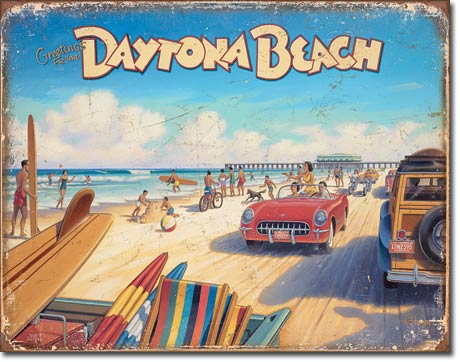 Greetings From Daytona Beach - Rectangular Tin Sign