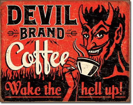 Devil Brand Coffee - Rectangular Tin Sign
