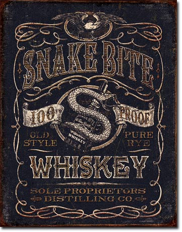 Snake Bite Whiskey - Rectangular Tin Sign