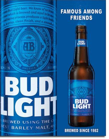 Bud Light Famous Among Friends - Rectangular Tin Sign