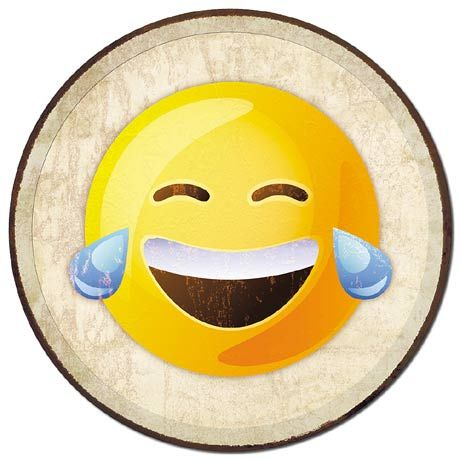 Laughing Emoji - Round Tin Sign