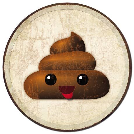 Poop Emoji - Round Tin Sign