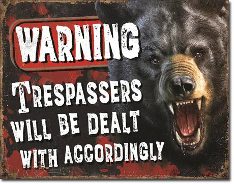 Warning - Trespassers will be dealt with - Rectangular Tin Sign