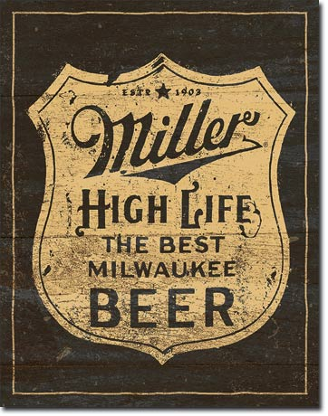 Miller - Vintage Shield - Rectangular Tin Sign