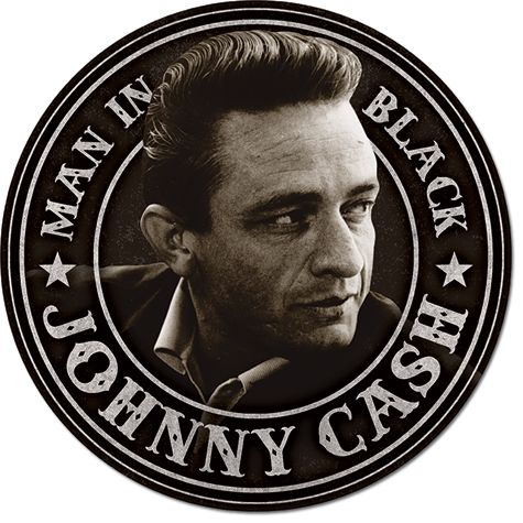 Johnny Cash - Man in Black Round - Round Tin Sign
