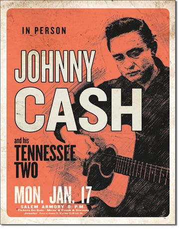 Johnny Cash & His Tennessee Two - Rectangular Tin Sign