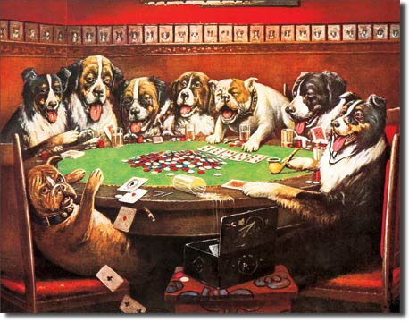 8 Drunken Dogs Playing Cards - Rectangular Tin Sign