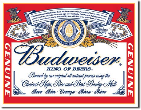 Budweiser King of Beers - Rectangular Tin Sign