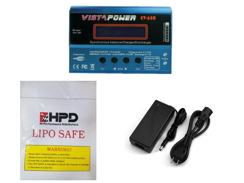 EV-650 VistaPower Charger Bundle With Power Adapter & LiPo Sack