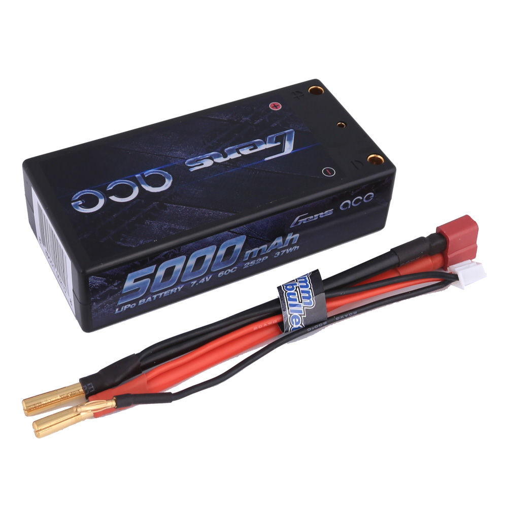 Gens Ace 5000mAh 2S2P 7.4V 60C LiPo Deans Plug Hard Case Shorty