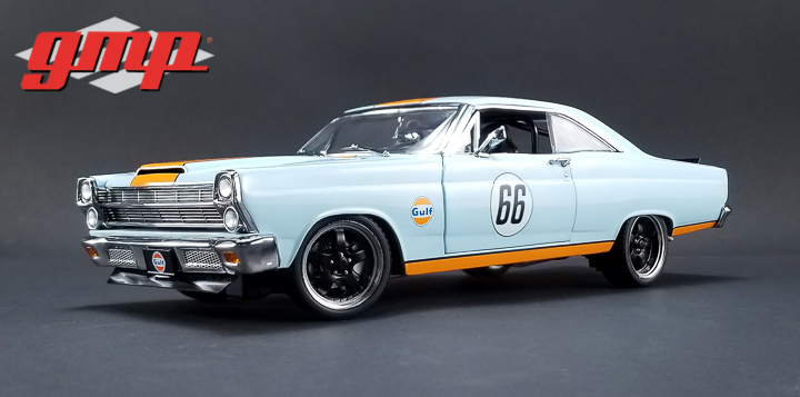 GMP 1/18 GMP 1966 Ford Fairlane Gulf Oil - Light Blue with Orang